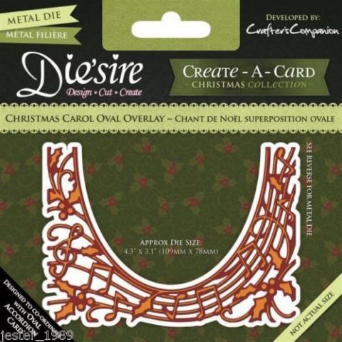 Die'sire Create A Card Accordian Die - Christmas Carol Overlay
